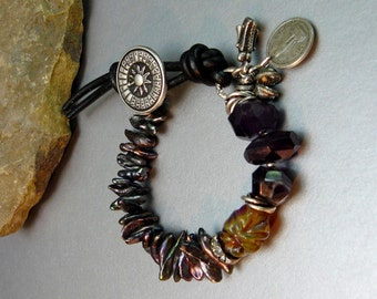 Natural Peacock Pearl Bracelet with Hand-blown Artisan Lamp work Bead and Deep Amethyst Gemstones -  Leather and Button Closure - Charms