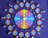 Flower of Life Altar Cloth + 16 Flowers Crystal Charger