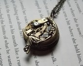 Moon Godess Necklace Steampunk Jewelry Brass Watch Movement  Victorian Clockworks Recycled Jewelry