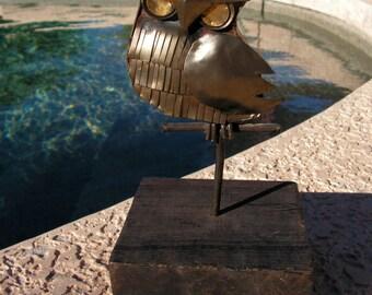 Vintage Metal Owl Sculpture Mid Century Art Statue Mounted on Wood Block Jere Eames Era Decor Rustic Primitive
