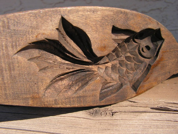 Asian coi wooden rice mold hand carved japanese wood carving