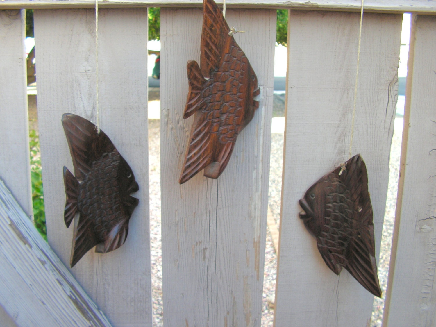 Carved wooden fish wood carving hanging mobile beach vintage