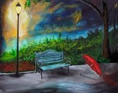 "Romantic Art Print Park Bench Tiffany Blue Teal Romance Red Umbrella Lighted Park Lights Parkway  ""A Romantic Park""  Leslie Allen Fine Art"