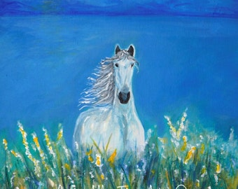"Horse Art Painting  White Horse Painting White Horse Art Valley Mountains White Horse Friesian ""Perfect Flower Field""  Leslie Allen Fine Art"
