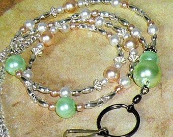Pearl Lanyard, Id Badge Holder, Id Necklace