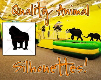 GORILLA Silhouette Decal 36, Safari Animals, HIGH QUALITY Vinyl Wall Silhouette Decals, Gorilla Decal Wall (Many Gorilla Sticker Sizes)