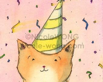 Original ACEO Painting -- Happy Birthday