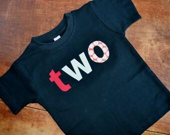 Two Birthday Shirt / 2nd birthday tee / READY TO SHIP / Second birthday tshirt / Boys 2nd Birthday Tee / Size 2T black short sleeve shirt