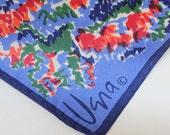 "80's Vera Floral Scarf / Blue / Vera Neumann / Polyester Scarf / 22"" Square"