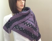 Triangle Wrap with Metal Latch Closure. 100 Percent All Wool Yarns in Heathered Volley and Dove Gray