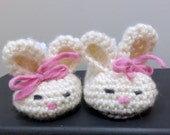 Bunny Shoes for Baby - Size 6-9 months - Toddler - Beach - Easter - Springtime - 100 percent Cotton Yarns