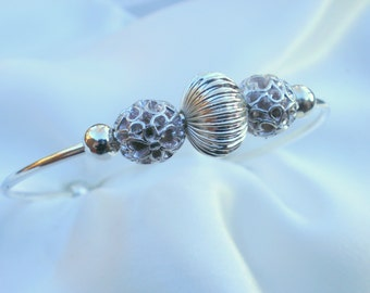 Sterling Silver Bead Bracelet Cuff, sterling silver beads, timeless design, contemporary