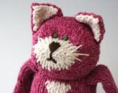 """Azalea Cat -  Organic Wool and Cotton Hand Knit Large Eco Friendly Stuffed Animal - Toy Kitty, 16"""" tall"""