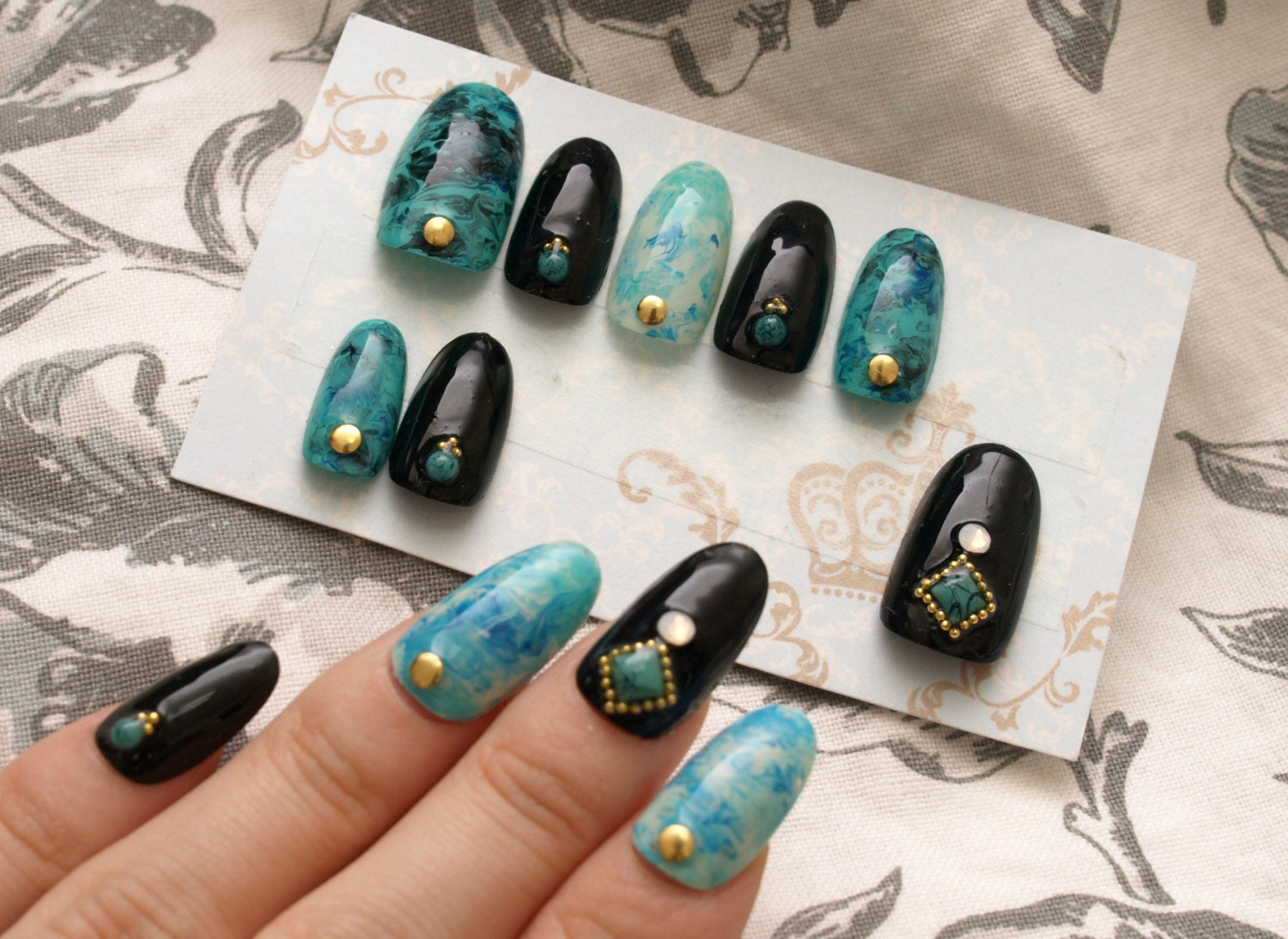 Turquoise nails marble black oval nail gel nail acrylic by ...