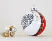 Mr. and Mrs. wedding ornament - Hand painted personalized glass ball - Large heart