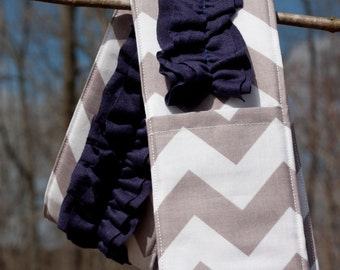 Ruffled Camera Strap Cover - Grey Chevron/ Navy