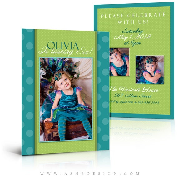 Birthday Invitation Templates - PRETTY PEACOCK - 5x7 Flat & Folded ...