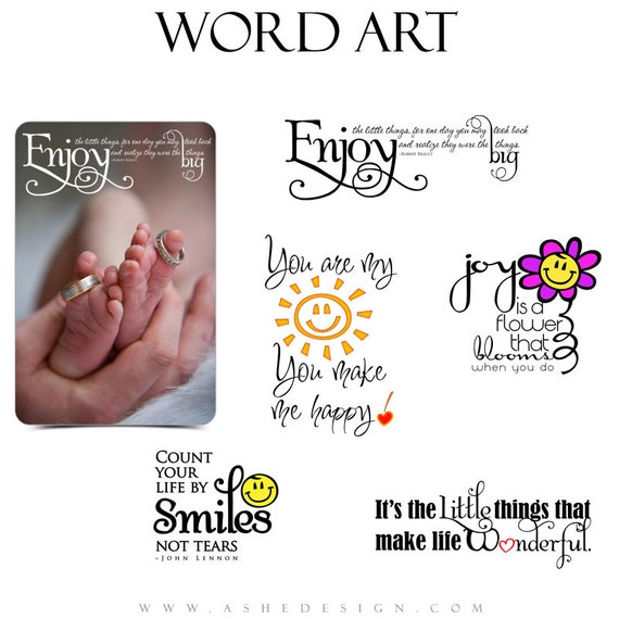 Inspirational Word Art Quotes Photo Overlays for Scrapbooking - LITTLE THINGS - (5) Custom Quotes for your Photographs and Quick Pages.