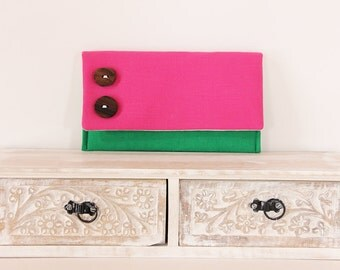 Pink and Green Clutch, Cute Pink Clutch, Rustic Clutch with Buttons, Shabby Chic Clutch, Pink Wedding Clutch, Color Block Clutch
