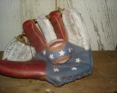 Americana Painted Baseball Glove with Baseball, Primitive, Rustic, Americana, Patriotic, Summer, 4th July Ofg, Faap, Hafair, Dub, Matgofg