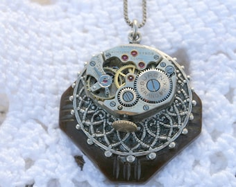 Steampunk Pendant with Watch Movement Bakelite Button Sterling Silver Box Chain