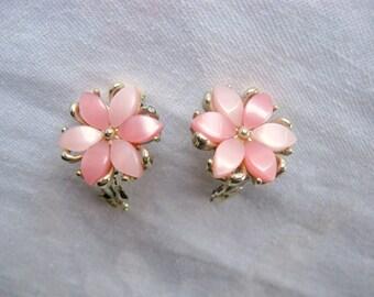 Pink Lucite Flower Clip Earrings