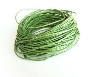 Waxed cotton cord 1mm - Green 10 meters / 32.8 ft  (C18)