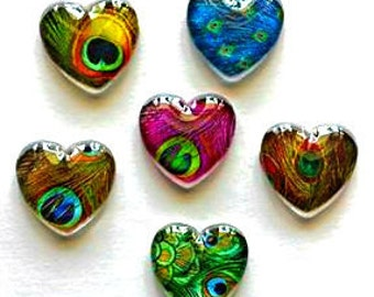 Heart Magnets - Peacock Feathers - Peacock - Set of 6 - 1 Inch Domed Glass Hearts