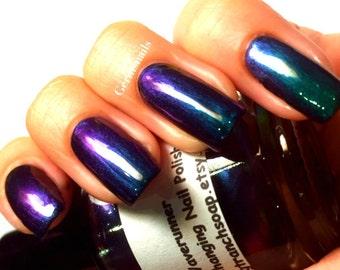 "READY TO SHIP - Nail Polish - Multichrome Chameleon Chrome - Purple/Green Color Shifting - ""Waverunner"" - 0.5 oz Full Sized Bottle"