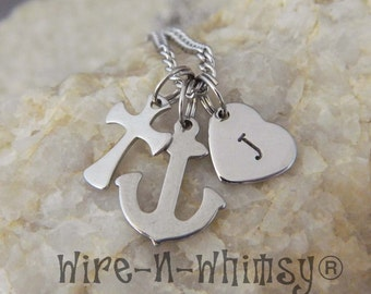 Stainless Steel Faith Hope Love Dangle Personalized Initial Necklace