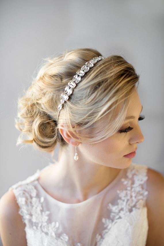 ribbon headband wedding headband bridal rhinestone headband ribbon