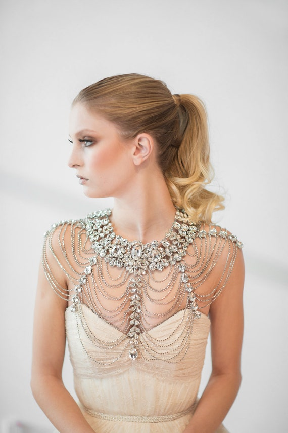 wedding shoulder jewelry bridal necklace by powderbluebijoux