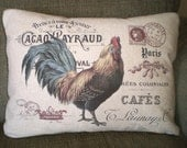 French Rooster Pillow Cover, Lumbar Pillow, Throw Pillow, French Rooster Print on Choice of 3 Fabrics, Paris, One 12 x 16 or 12 x 18