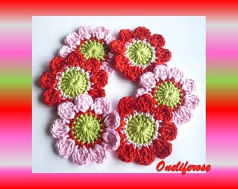 Crochet Flowers 6 pieces