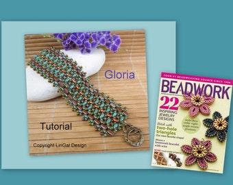 Tutorial Gloria SuperDuo and Brick beads Beadwork Bracelet PDF