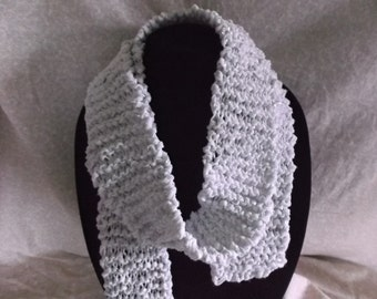 "Handmade Knit Scarf White and Sliver  58"" Long"