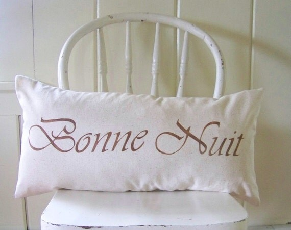Good Night pillow cover - bonne nuit - lumbar - linen - bedroom - nursery - french - cushion cover - french decor - bed - beddin