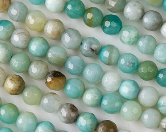 Amazonite 6mm Faceted Round Beads - 8 inch strand