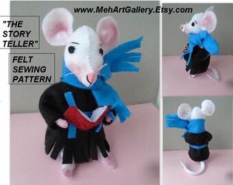 Pdf SEWING PATTERN - The StoryTeller Mouse,  Felt Miniatures, Soft Sculpture Stuffed Fiber Art, Plushie,  plush animal,  Instant Download