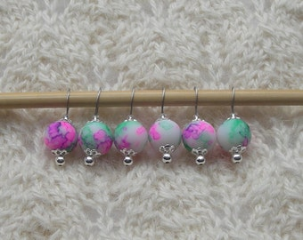 watercolor knitting stitch markers - snag free - pink green glass beads 12mm - set of 6 - two loop sizes available