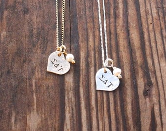 Sigma Delta Tau Necklace Petite Heart - Silver Gold Heart Sorority Jewelry, Big Sis Lil Sis, Initiation Gift, Sorority Initiation Gift