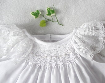 Smocked baby dress, smocked  christening dress, ivory or white with lace  angel sleeves