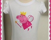 Girls Embroidered Peppa Pig Tee T Shirt