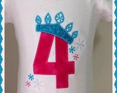 Girls Embroidered1st 2nd 3rd 4th 5th Baby Frozen Inspired Birthday  Pink, blue, tee,T-shirt
