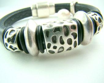 Black licorice leather bracelet, chunky black and silver bracelet, freshwater pearl dangle