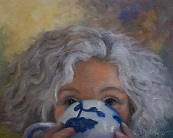Custom Coffee Portrait Painting, Original Oil on Canvas of You by Me, Cheri Wollenberg