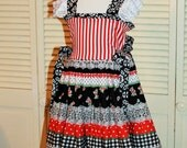 Ruffles and Bows, Red, Black, and White Sundress Size 6