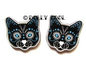 Black Cat Earrings Sugar Skull Style by Dolly Cool Kitty Day of the Dead
