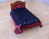 Miniature Dollhouse Crochet Bedspread with Pillow Black Lace & red Scallps with Pillow