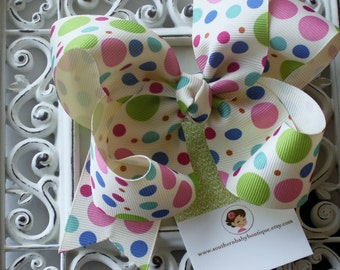 NEW----Boutique Large Hair Bow Clip----Cream Multi-Dots---